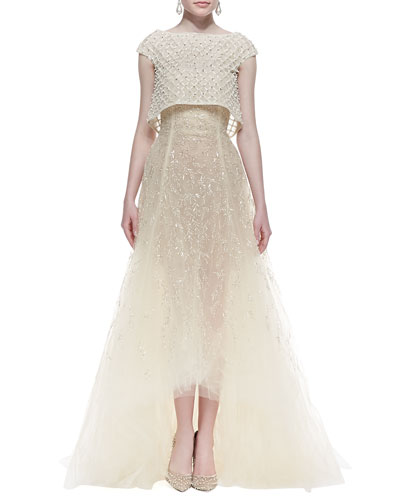 High-Low Embroidered Cap Sleeve Gown, Ivory