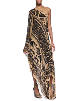 Donna Karan Embroidered One-Sleeve Asymmetric Printed Caftan