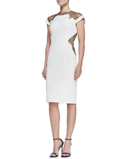 Lela Rose Lace-Inset Sheath Dress, Ivory