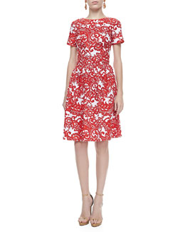 Oscar de la Renta A-line Short-Sleeve Paisley Dress, Vermillion/White