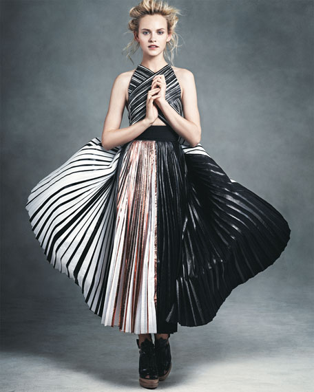 Pleated Crisscross Foil Dress