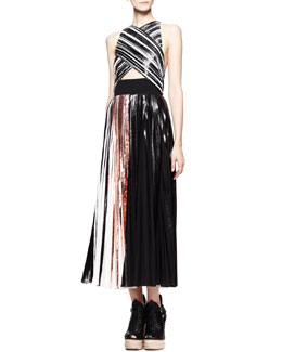 Proenza Schouler Pleated Crisscross Foil Dress