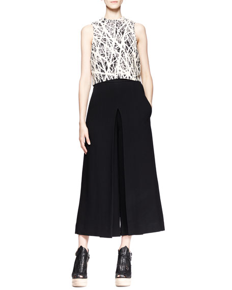 High-Waist Cropped Gaucho Pants