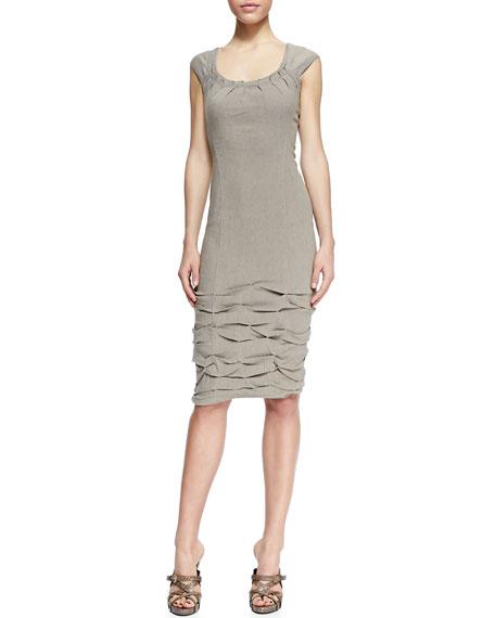 Cap-Sleeve Linen-Blend Dress with Crushed Skirt