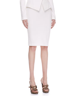 Donna Karan Pull-On Jersey Pencil Skirt, Ivory