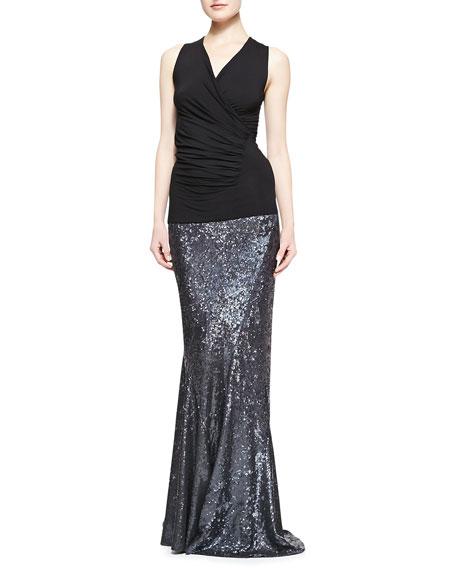 Sequined Floor Length Bias Skirt, Granite