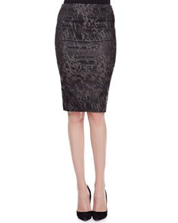 Donna Karan Tube Skirt with Fold-Over Waist, Slate