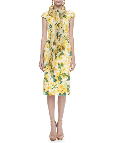 Seasonless Floral-Print Scarf, Canary