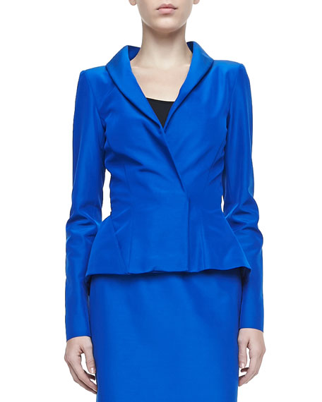 Peplum Faille Jacket, Lapis Blue