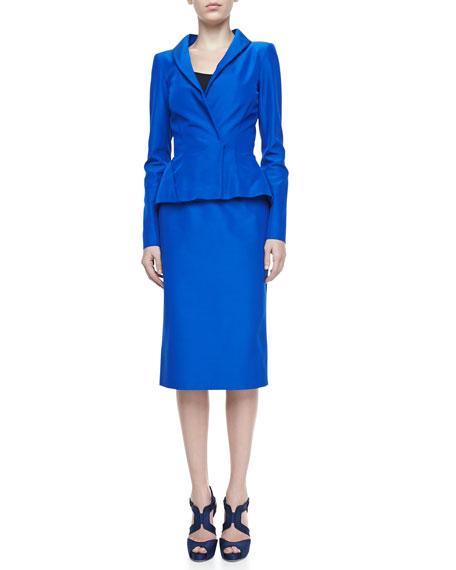 Faille Pencil Skirt, Lapis Blue