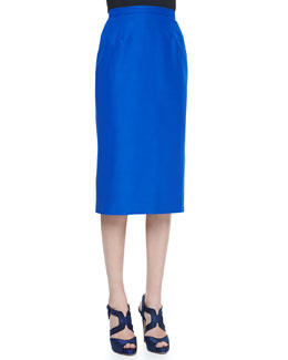 Oscar de la Renta Faille Pencil Skirt, Lapis Blue