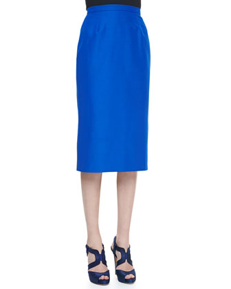 Faille Pencil Skirt, Lapis Blue
