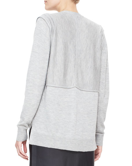 Cashmere Cardigan with Pleated Shoulders, Gray