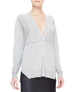 Alexander Wang Cashmere Cardigan with Pleated Shoulders, Gray