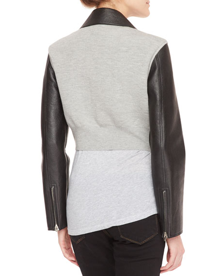 Leather-Front Knit-Back Cropped Moto Jacket, Black/Gray