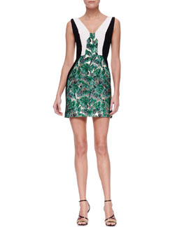 J. Mendel Printed Graphic-Colorblock Dress