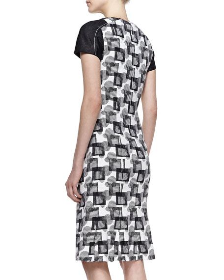 Short-Sleeve Geometric Jacquard Dress with Cutout Neck