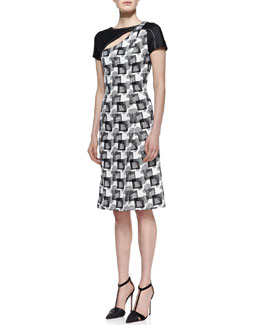 Carolina Herrera Short-Sleeve Geometric Jacquard Dress with Cutout Neck