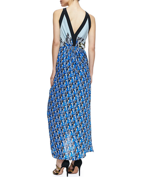 Long Printed Halter Sarong Dress