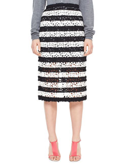 Burberry Prorsum Striped Curlicue Embroidered Lace Midi Skirt, Black/White