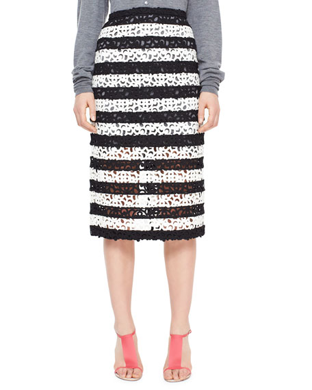 Striped Curlicue Embroidered Lace Midi Skirt, Black/White