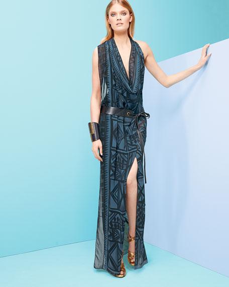 Draped V-Neck Sleeveless Dress, Old Indigo