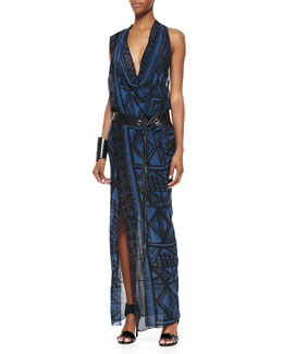 Donna Karan Draped V-Neck Sleeveless Dress, Old Indigo