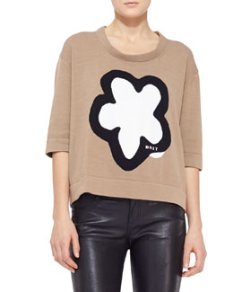 Burberry Brit Flower Knit Cropped Sweater, Sand