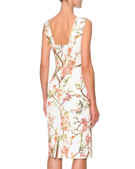 Sleeveless Knee-Length Floral Sheath Dress, Cream/Pink