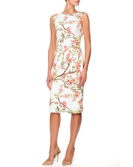 Dolce & Gabbana Sleeveless Knee-Length Floral Sheath Dress, Cream/Pink