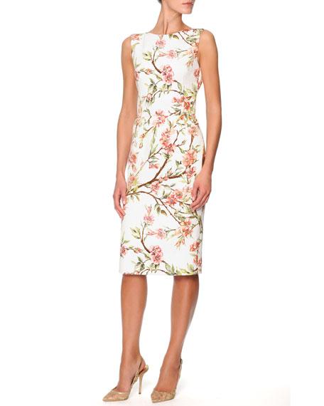 Sleeveless Knee-Length Floral Sheath Dress, Cream/Pink