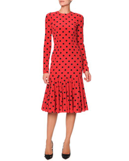 Dolce & Gabbana Long-Sleeve Polka Dot Flounce Dress, Red/Black