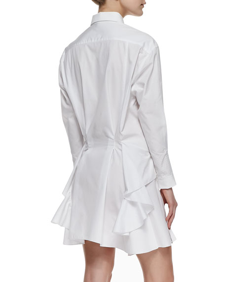 Pleated Side-Ruffle Cotton Shirtdress