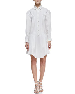 Nina Ricci Pleated Side-Ruffle Cotton Shirtdress