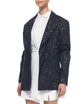 Oversized Lace Blazer Jacket, Navy