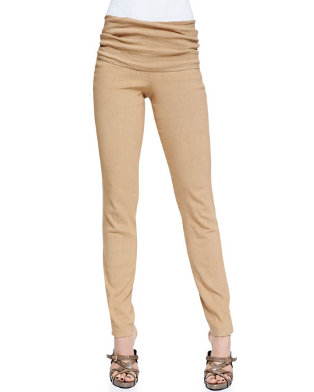 Fold-Over Stretch-Linen Tube Pants