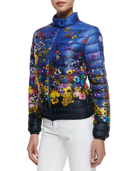 Floral-Print Short Puffer Coat