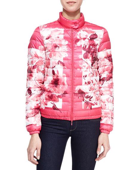 Short Floral-Print Puffer Coat, Pink