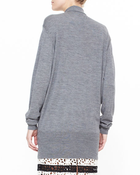 Heathered Polo Shirt Cardigan, Gray