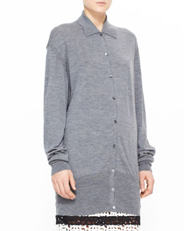 Burberry Prorsum Heathered Polo Shirt Cardigan, Gray