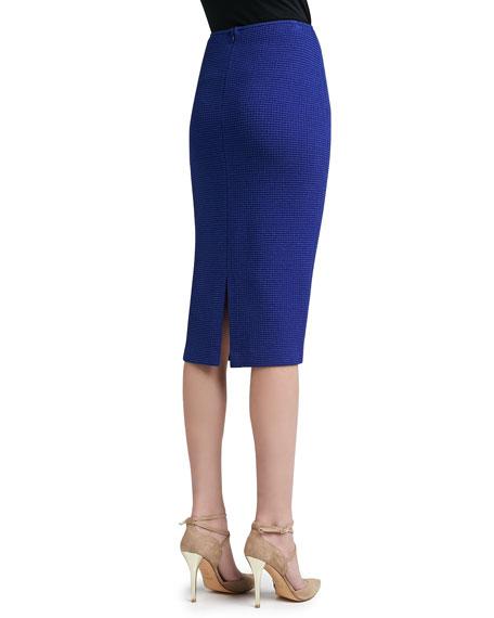 Box Stitch Knit Long Pencil Skirt with Back Slit