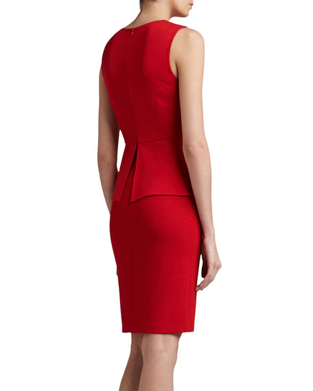 Milano/Boucle Vented Peplum Dress with Pocket Flaps, Red