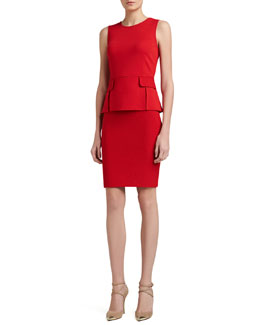 St. John Collection Milano/Boucle Vented Peplum Dress with Pocket Flaps, Red