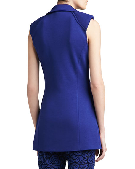 Milano Knit Double-Breasted Sleeveless Jacket with Padded Shoulder & Pocket Flaps