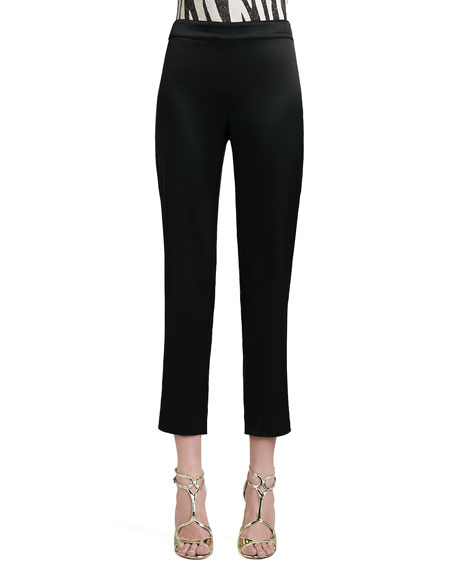 Liquid Satin Side-Zip Cropped Pants