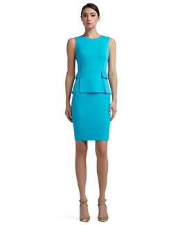 St. John Collection Milano Knit Vented Peplum Bodice Dress With Nouveau Boucle Skirt and Pocket Flaps, Turquoise