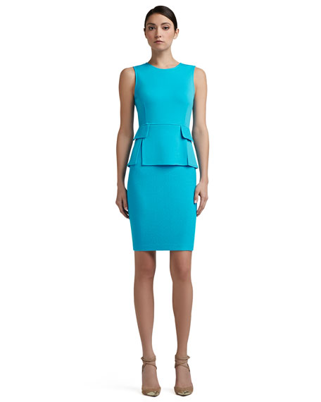Milano Knit Vented Peplum Bodice Dress With Nouveau Boucle Skirt and Pocket Flaps, Turquoise