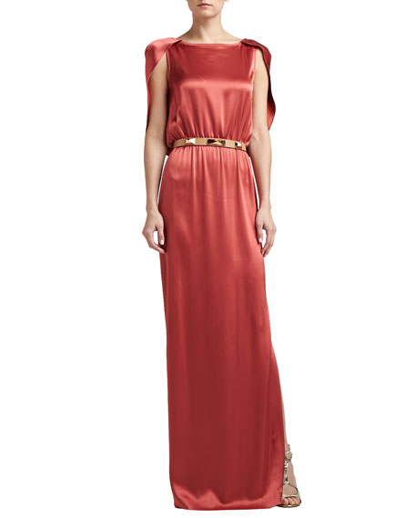 Liquid Satin Evening Gown with Capelet