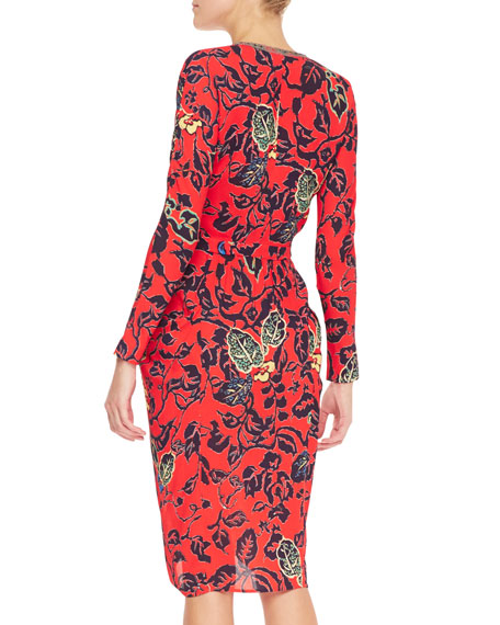 Plunging Maui Floral Dress with Long Sleeves, Red