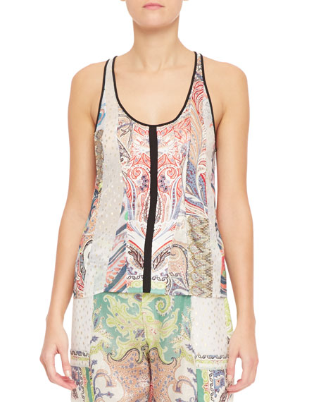 Fern Paisley Patchwork Tank Top, White/Multi